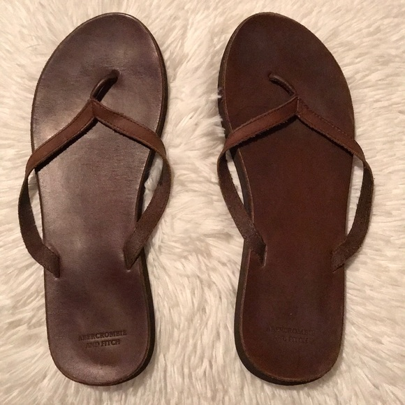 ecedc586ba2d7c Abercrombie   Fitch Shoes - Abercrombie   Fitch Brown Leather Flip Flops